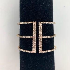 INC Gold-Tone Silver Crystal Tri Cuff Bracelet NEW